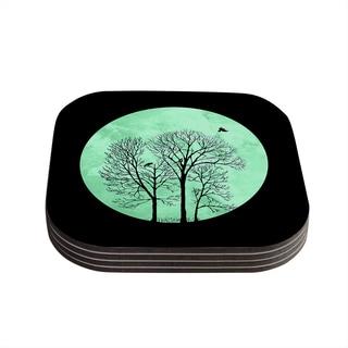 Kess InHouse Micah Sager 'Perch' Teal Circle Coasters (Set of 4)