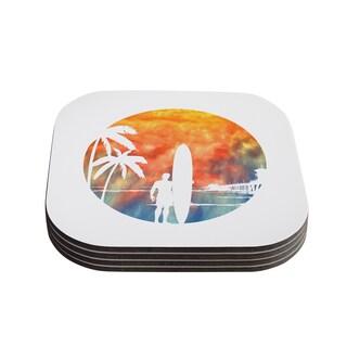 Kess InHouse Micah Sager 'Waiting' Orange White Coasters (Set of 4)