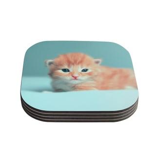 Kess InHouse Monika Strigel 'Dreamcat' Orange Blue Coasters (Set of 4)