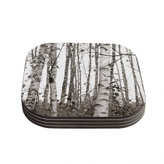 Kess InHouse Monika Strigel 'Birchwood' Grey Forest Coasters (Set of 4)