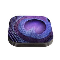 Kess InHouse Monika Strigel 'Purple Peacock' Lavender Coasters (Set of 4)