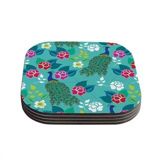 Kess InHouse Anneline Sophia 'Mexican Peacock' Teal Rainbow Coasters (Set of 4)