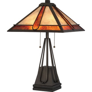 Quoizel Pearce with Mica Shade Colored Glass Table Lamp