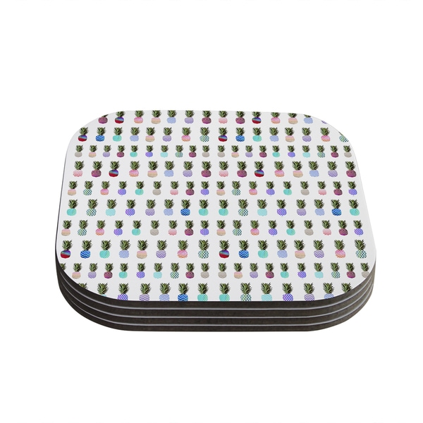 Kess InHouse Monika Strigel 'Pineapple People' White Multicolor Coasters (Set of 4)