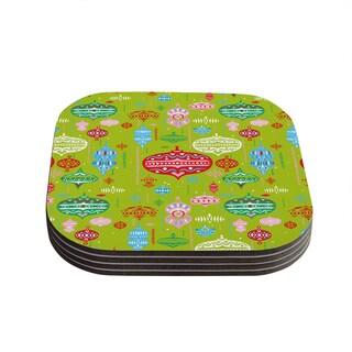 Kess InHouse Miranda Mol 'Ornate Green' Ornaments Coasters (Set of 4)