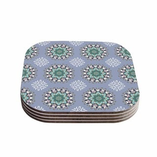 Kess InHouse Nika Martinez 'Princess In Purple' Green Arabesque Coasters (Set of 4)