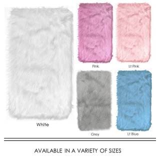 Home Dynamix Arctic Collection Pink/Gray/White/Blue Modern Machine-Made Faux Fur Area Rug (23.6 x 35.4)