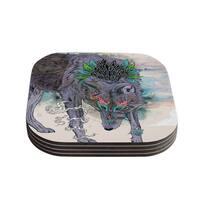 Kess InHouse Mat Miller 'Journeying Spirit' Wolf Coasters (Set of 4)