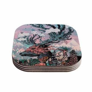 Kess InHouse Mat Miller 'Journeying Spirit (Deer)' Lavender Fantasy Coasters (Set of 4)