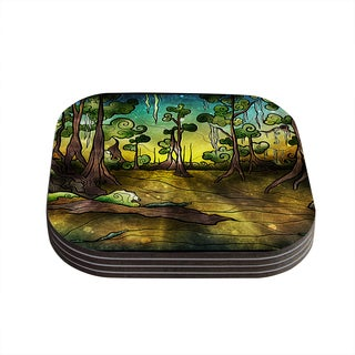 Kess InHouse Mandie Manzano 'Aligator Swamp' Coasters (Set of 4)