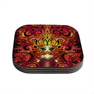 Kess InHouse Mandie Manzano 'She Devil Full' Coasters (Set of 4)