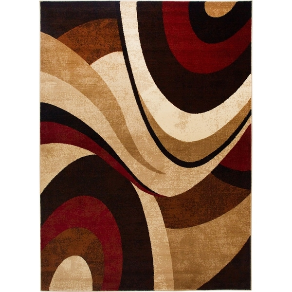 Home Dynamix Tribeca Collection Contemporary Brown-Red 3 PieceArea Rug - 3 Piece Set
