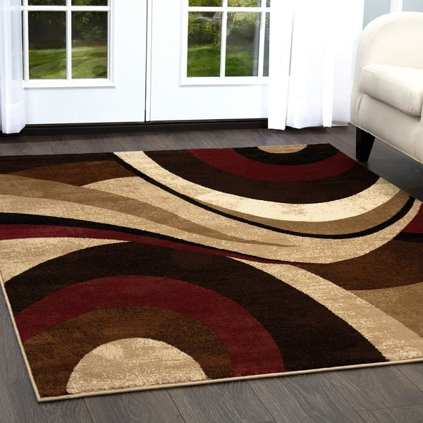 Home Dynamix Tribeca Collection Contemporary Brown-Red 3 PieceArea Rug - 5'2 x 7'2