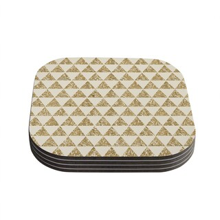 Kess InHouse Nika Martinez 'Glitter Triangles in Gold' Tan Yellow Coasters (Set of 4)