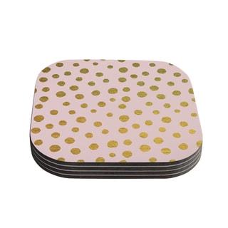 Kess InHouse Nika Martinez 'Golden Dots & Pink' Blush Coasters (Set of 4)
