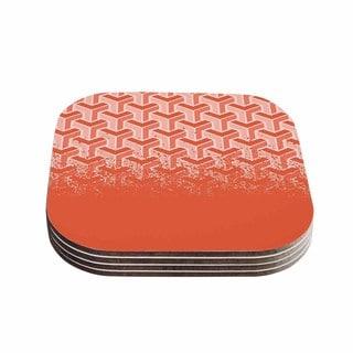 Kess InHouse Just L 'No Yard Coral' Pastel Urban Coasters (Set of 4)