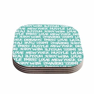 Kess InHouse Just L 'Lux Writing Wht Teal' White Typography Coasters (Set of 4)