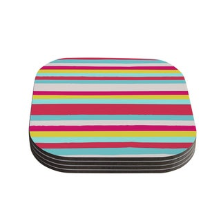Kess InHouse Nika Martinez 'Girly Surf Stripes' Coasters (Set of 4)