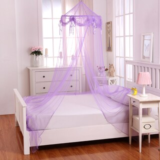 Buttons and Bows Kids' Collapsible Hoop Sheer Bed Canopy (Option: Purple)