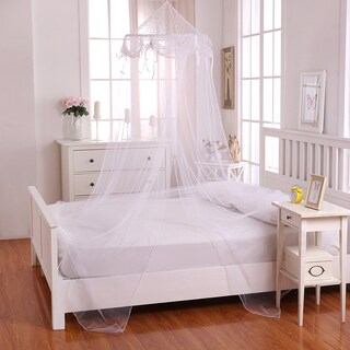 Buttons and Bows Kids' Collapsible Hoop Sheer Bed Canopy (Option: White)