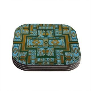 Kess InHouse Nika Martinez 'Golden Art Deco Green & Blue' Coasters (Set of 4)