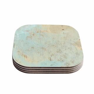 Kess InHouse Li Zamperini 'Vintage' Beige Teal Coasters (Set of 4)