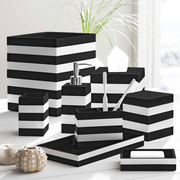 Coastal Stripe Black/White Bathroom Accessories
