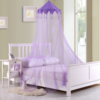 Sheer Harlequin Purple Collapsible Hoop Kids Bed Canopy