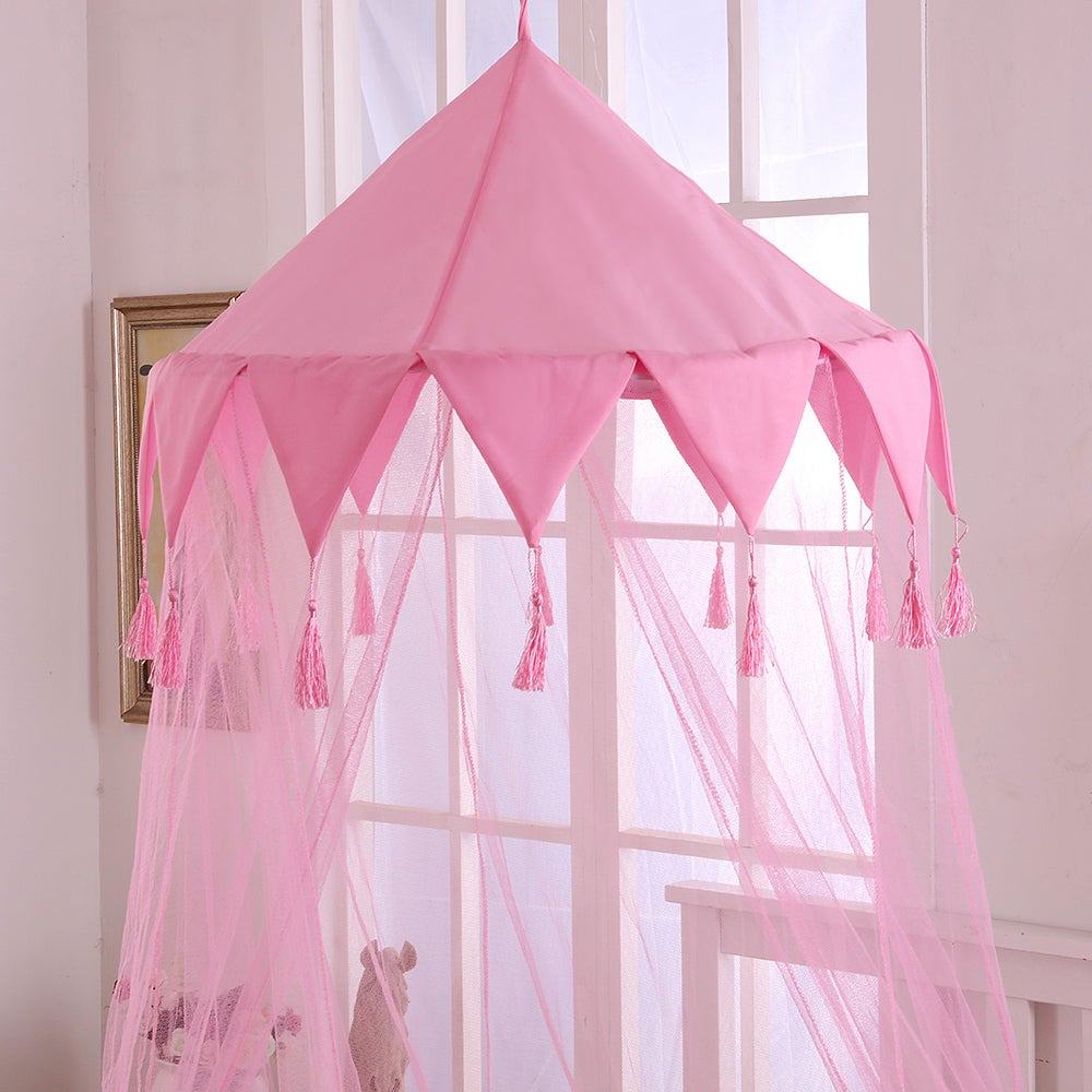 Sheer Harlequin Collapsible Hoop Kids Bed Canopy (Pink) (...
