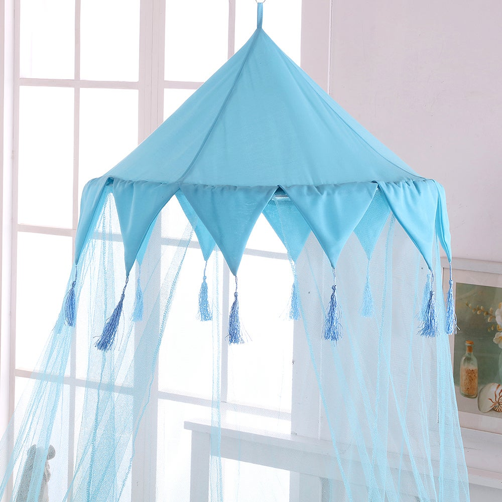 Sheer Harlequin Collapsible Hoop Kids Bed Canopy (Blue) (...