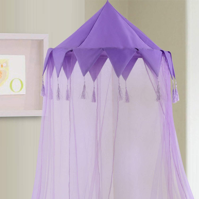 Sheer Harlequin Collapsible Hoop Kids Bed Canopy (Purple)...