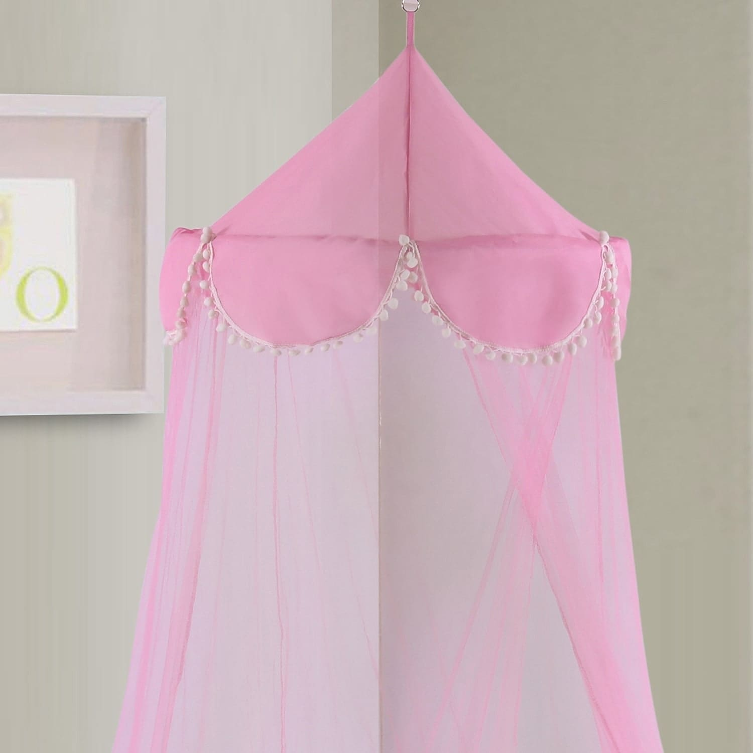 Sheer Pom Pom Collapsible Hoop Kids Bed Canopy (Pink), Si...