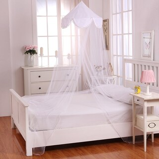 Sheer Pom Pom Collapsible Hoop Kids Bed Canopy (Option: White)