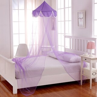 Sheer Pom Pom Collapsible Hoop Kids Bed Canopy (Option: Purple)