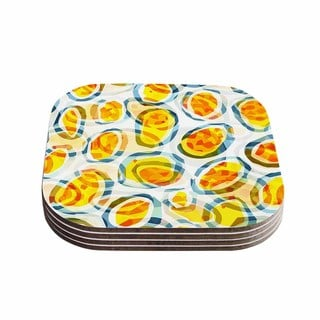 Kess InHouse Matthias Hennig 'Sunny Places' Yellow Pattern Coasters (Set of 4)