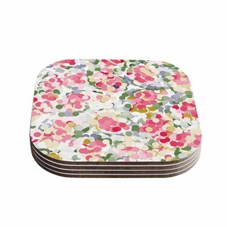 Kess InHouse Matthias Hennig 'Soft Dots' Pink Floral Coasters (Set of 4)