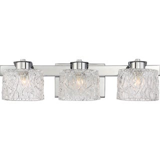 Quoize Platinum Collection Clear Crystal Glass Seaview Bath Fixture with 3 Lights