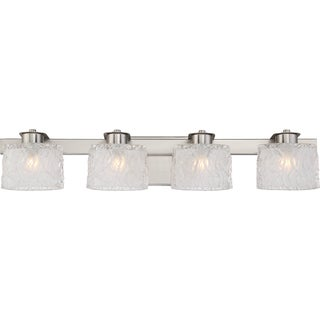 Quoizel Platinum Collection Seaview Steel and Frosted Glass 4-light Bath Fixture