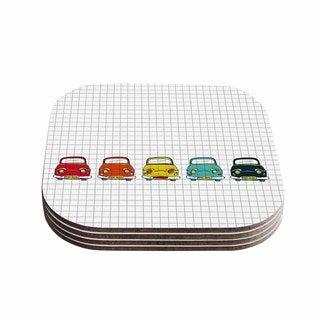 Kess InHouse KESS InHouse Boys Rock Multicolor Wood Coasters (Set of 4)