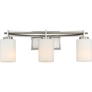 Quoizel Taylor Silver Frosted Glass Bath Fixture with 3 Lights