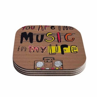 Kess InHouse MaJoBV 'Music In My Life' Brown Quote Coasters (Set of 4)