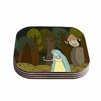 Kess InHouse Petit Griffin 'Enchanted Forest' Green Blue Coasters (Set of 4)