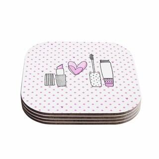 Kess InHouse MaJoBV 'Girls Luv' Pink Makeup Coasters (Set of 4)