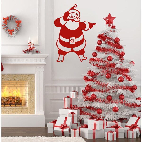 Shop Funny Santa Claus Wall Art Sticker Decal Red - Free Shipping On ...