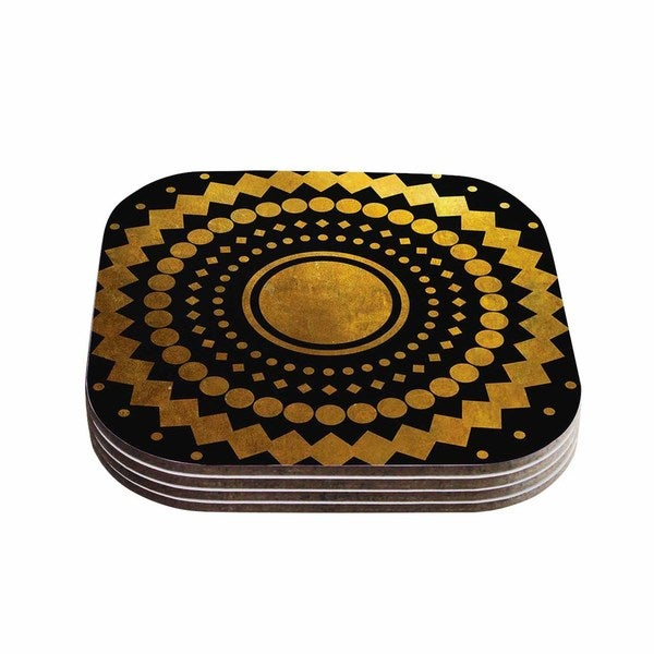 Kess InHouse Matt Eklund 'Gilded Confetti' Gold Geometric Coasters (Set of 4)
