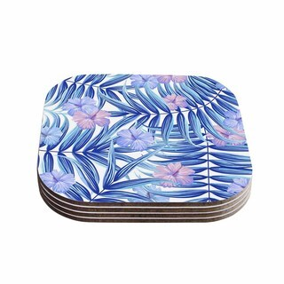 Kess InHouse Marta Olga Klara 'Hawaiian Pattern' Blue Lavender Coasters (Set of 4)