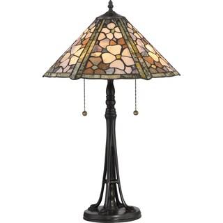 Quoizel Flower Field Jade Stone Shade Table Lamp