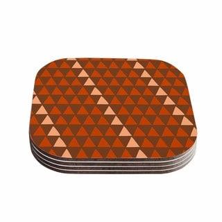 Kess InHouse Matt Eklund 'Overload Autumn ' Brown Orange Coasters (Set of 4)