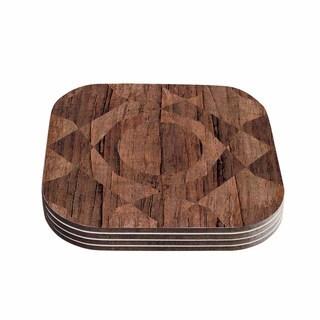 Kess InHouse Matt Eklund 'Indigenous' Beige Brown Coasters (Set of 4)
