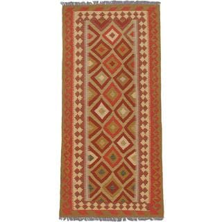 ecarpetgallery Hand-woven Anatolian Brown and Yellow Wool Kilim Rug (3'2 x 7'1)